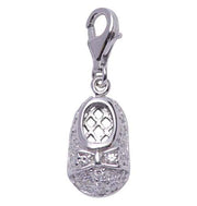 Sterling Silver and Crystal Gemstone Baby Shoe Charm - SilverAndGold.com Silver And Gold