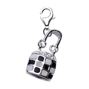 Sterling Silver and Checkered Enamel Tote Bag Charm - SilverAndGold.com Silver And Gold