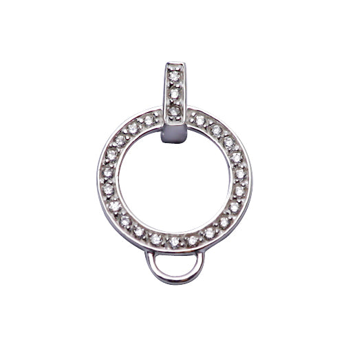 Circular Crystal Gemstone Charm Holder in Sterling Silver - SilverAndGold.com Silver And Gold