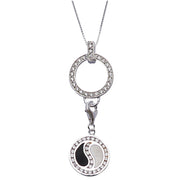 CZ Black and White Enamel Yin Yang Sterling Silver Pendant - SilverAndGold.com Silver And Gold