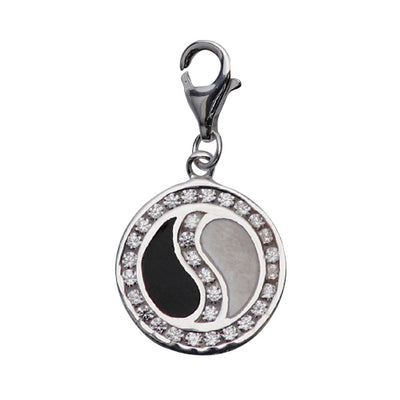 Sterling and Crystal Gemstone Yin Yang Design Charm in Black and White Enamel - SilverAndGold.com Silver And Gold