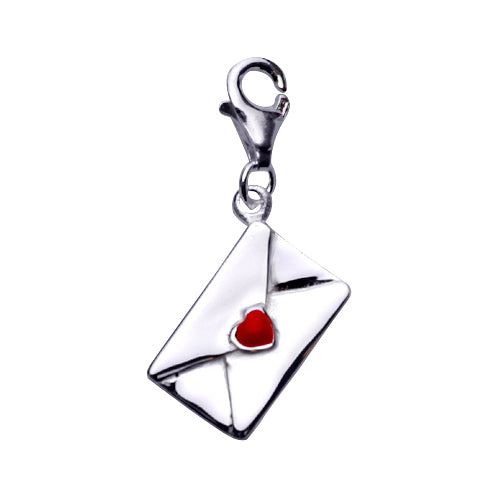Sterling Silver Love Letter Envelope Charm Pendant with Red Enamel Heart - SilverAndGold.com Silver And Gold