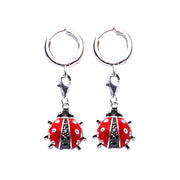 Sterling Silver Earrings: Ladybug in Red and Black Enamel with Cubic Zirconias - SilverAndGold.com Silver And Gold