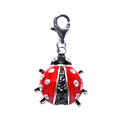 Triple Pendant Ladybug Charm Bracelet in Enamel and Sterling - SilverAndGold.com Silver And Gold