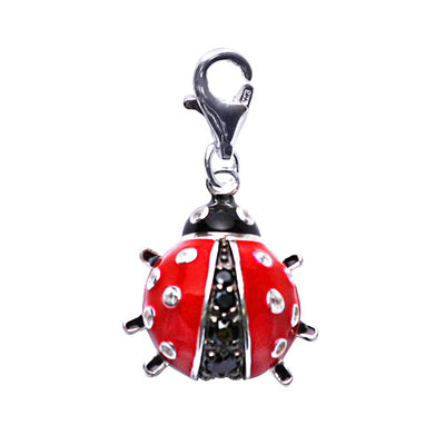 Sterling Silver Ladybug Charm in Red and Black Enamel - SilverAndGold.com Silver And Gold