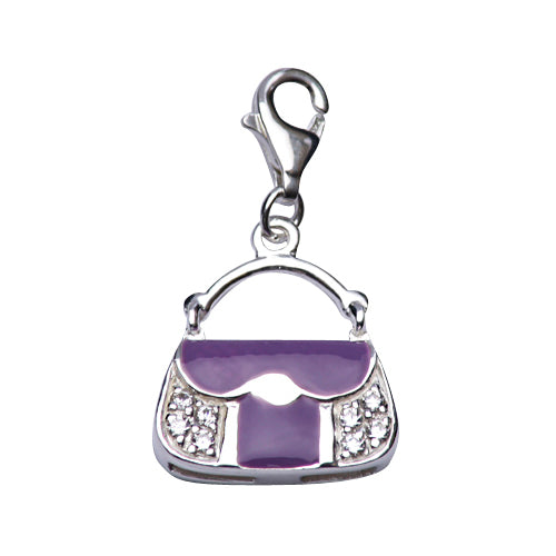 Sterling Silver Handbag Charm with Purple Enamel and Crystal Gemstones - SilverAndGold.com Silver And Gold