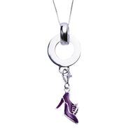 Purple Enamel Victorian Boot Sterling Silver Pendant - SilverAndGold.com Silver And Gold
