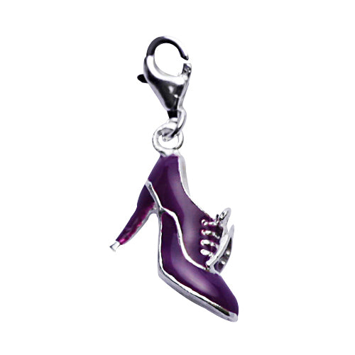 Sterling Victorian Granny Boot Charm in Purple Enamel - SilverAndGold.com Silver And Gold