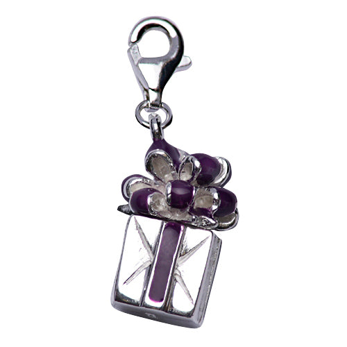 Sterling Silver Gift Box Charm with Purple Enamel Ribbon - SilverAndGold.com Silver And Gold