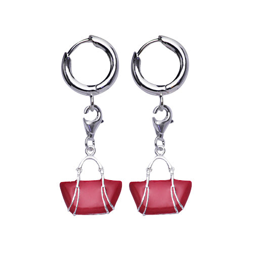 Sterling Silver Pink Tote Bag Earrings | SilverAndGold