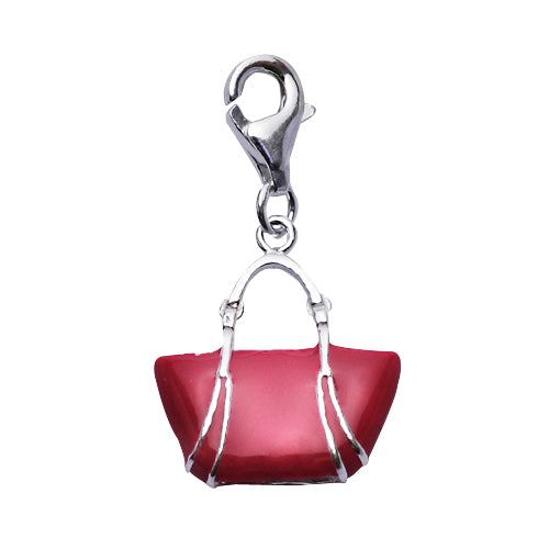 Sterling Tote Bag Charm in Bright Pink Enamel - SilverAndGold.com Silver And Gold