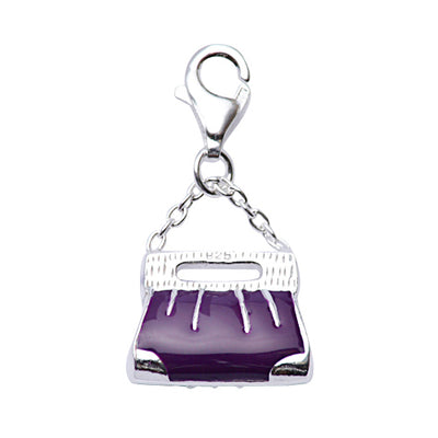 Sterling Silver Purple Enamel Purse Charm with Chain Deail - SilverAndGold.com Silver And Gold