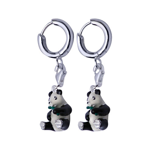 Sterling Silver and Enamel Earrings: Panda Bears - SilverAndGold.com Silver And Gold