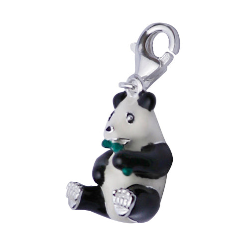 Sterling Silver Enamel Panda Pendant Necklace - SilverAndGold.com Silver And Gold