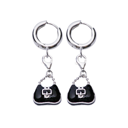 Black Purse Sterling Silver Charm Earrings | SilverAndGold