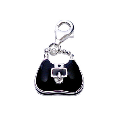 Chic Satchel Handbag Purse Charm in Sterling and Black Enamel - SilverAndGold.com Silver And Gold