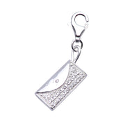 Sterling Silver Clutch Handbag Charm with Crystal Gemstone Detail - SilverAndGold.com Silver And Gold
