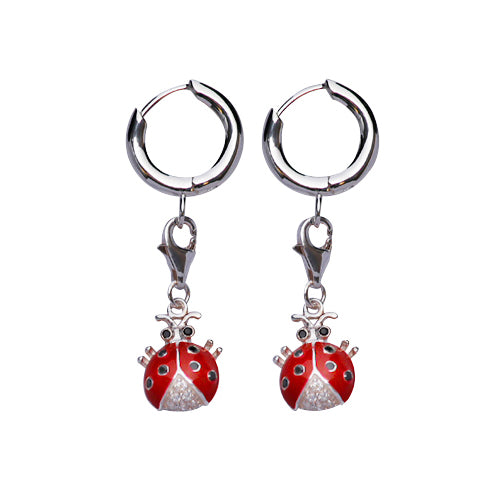 Sterling Silver Earrings: Crystal Gemstone Ladybug with Red and Black Enamel - SilverAndGold.com Silver And Gold