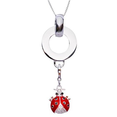 Crystal Gemstone Red and Black Enamel Ladybug Sterling Silver Pendant - SilverAndGold.com Silver And Gold