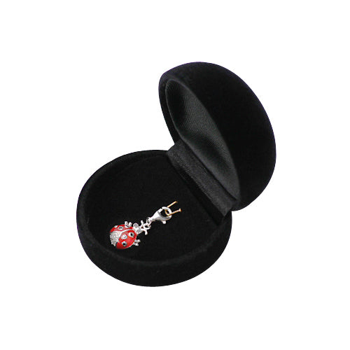 Sterling and Crystal Gemstone Ladybug Charm with Red and Black Enamel - SilverAndGold.com Silver And Gold
