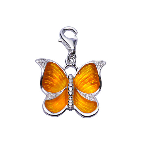 Yellow Enamel Butterfly Sterling Silver Pendant Necklace - SilverAndGold.com Silver And Gold
