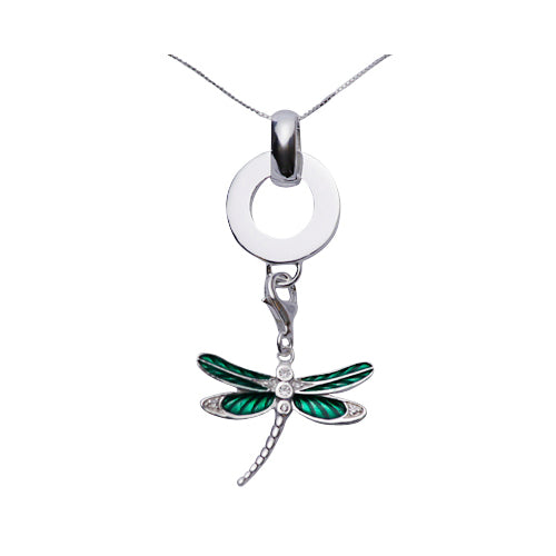 Sterling and Green Enamel Dragonfly Sterling Silver Pendant Necklace - SilverAndGold.com Silver And Gold