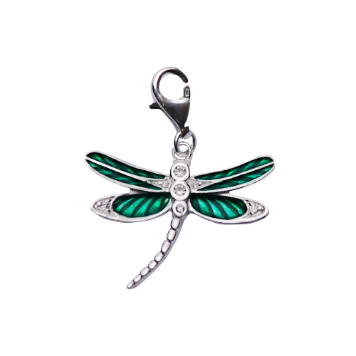 Sterling Silver Earrings: Dragonfly in Green Enamel - SilverAndGold.com Silver And Gold
