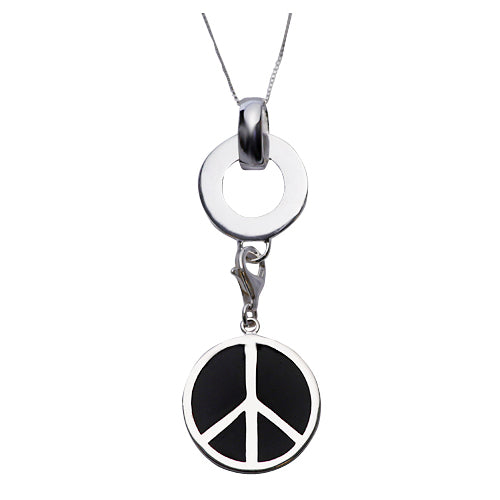 Black Enamel Peace Sign Sterling Silver Pendant Necklace - SilverAndGold.com Silver And Gold