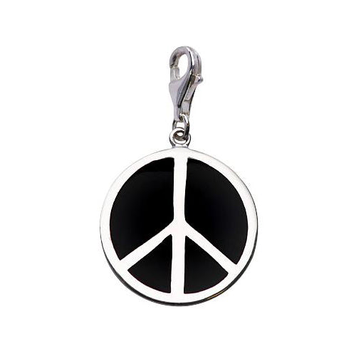 Large Black Enamel and Sterling Peace Symbol - SilverAndGold.com Silver And Gold