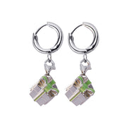Sterling Silver Earrings: Gift Box with Green Enamel Ribbon - SilverAndGold.com Silver And Gold