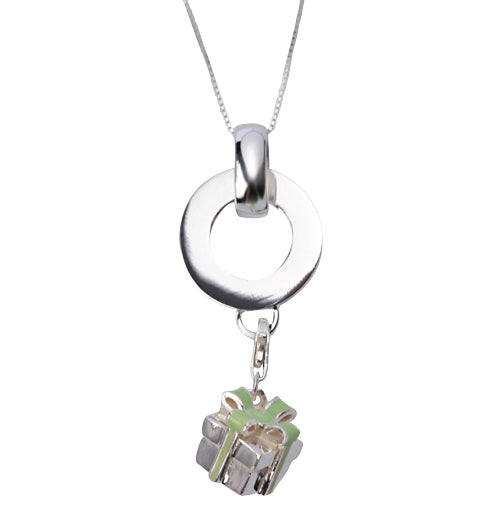 Sterling and Green Enamel Gift Box Pendant Necklace - SilverAndGold.com Silver And Gold