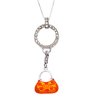 Orange Enamel Designer Style Handbag Purse Sterling Silver Pendant Necklace - SilverAndGold.com Silver And Gold