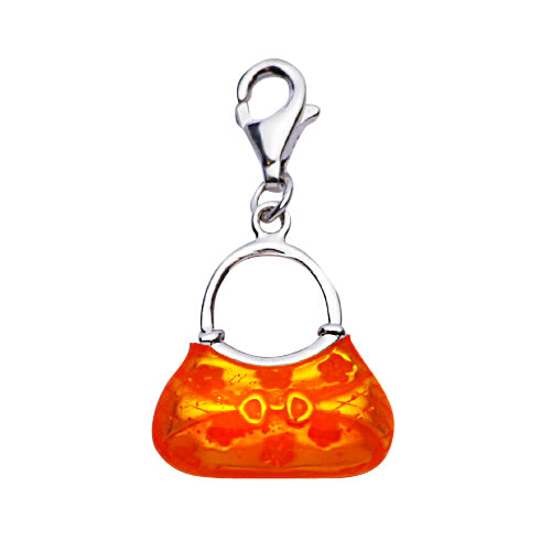 Sterling Silver Designer Style Handbag Purse in Orange Enamel - SilverAndGold.com Silver And Gold