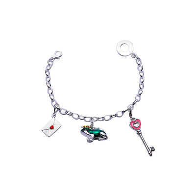 Sterling Silver Charm Bracelet: Frog Prince Love Letter and Heart Key - SilverAndGold.com Silver And Gold