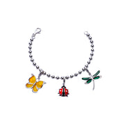 Butterfly, Ladybug, and Dragonfly Charm Bracelet in Enamel and Sterling Silver - SilverAndGold.com Silver And Gold