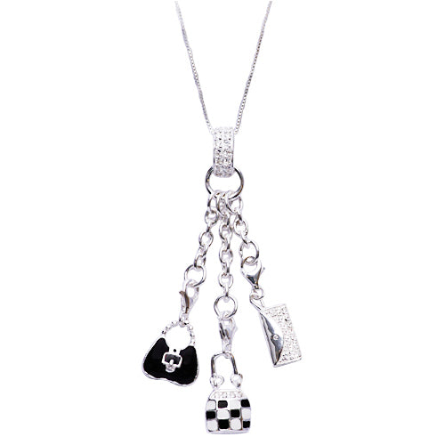 Sterling Silver Dangle Charm Necklace: Black, White, and Silver Purse Collection - SilverAndGold.com Silver And Gold