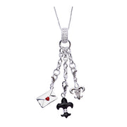 Sterling Silver Dangle Charm Necklace: Love Letter and Fleur de Lis - SilverAndGold.com Silver And Gold