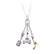 Sterling Silver Dangle Charm Necklace: Crown, Vintage Auto, High Heel Shoe - SilverAndGold.com Silver And Gold