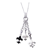 Sterling Silver Dangle Charm Necklace: Silver and Enamel Fleur de Lis - SilverAndGold.com Silver And Gold