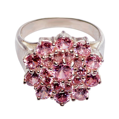 Pink Diamond Simulant Sterling Silver Cocktail Ring