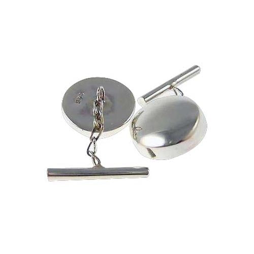Sterling Silver Cuff Links - Classic Round Pillbox Style Cuff Links - SilverAndGold.com Silver And Gold