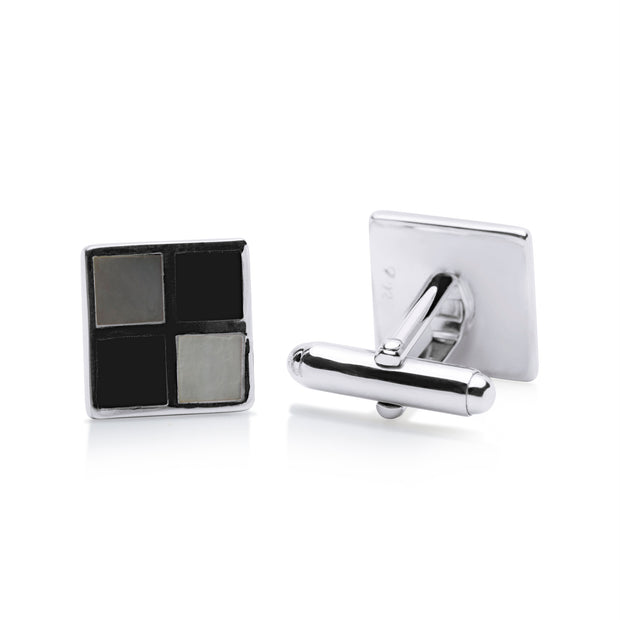 Chessboard Black Onyx & Mother of Pearl Cufflinks | SilverAndGold