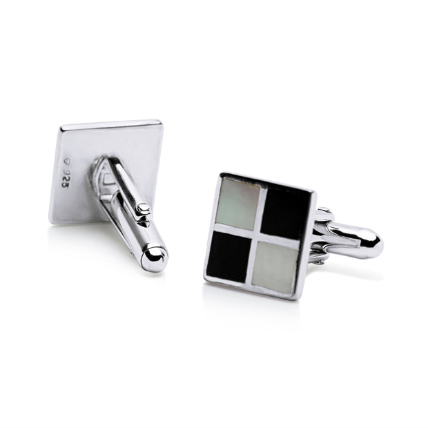Sterling Silver Chessboard Black Onyx & Mother of Pearl Cufflinks