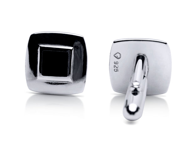 Sterling Silver Cufflinks with Black Onyx | SilverAndGold