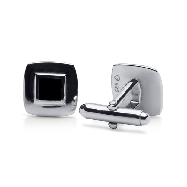 Sterling Silver Cufflinks with Black Onyx
