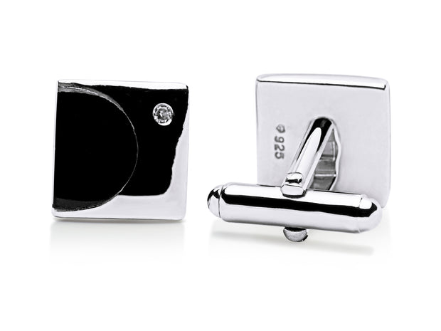 Black Onyx and Cubic Zirconia Cufflinks in Sterling Silver