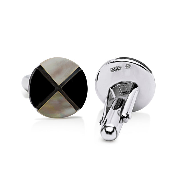 Round Black Onyx and Mother of Pearl Cufflinks in Sterling Silver