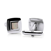 White Mother of Pearl English Cufflinks in Sterling Silver