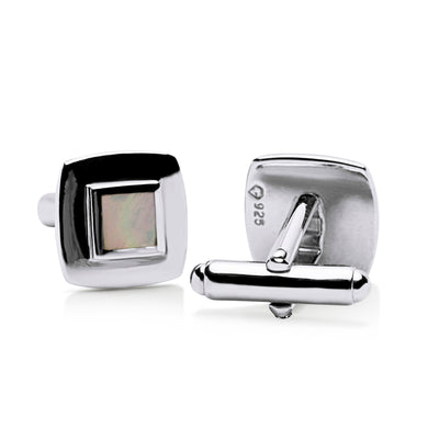White Mother of Pearl Sterling Silver Cufflinks | SilverAndGold