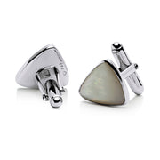 French Triangular Mother of Pearl Cufflinks in Sterling Silver